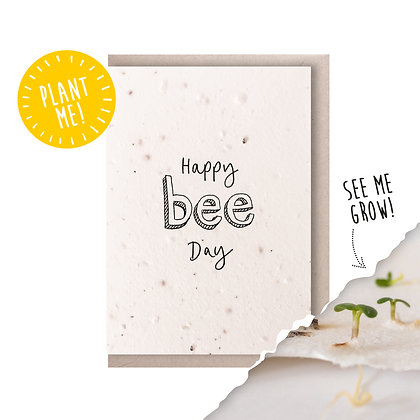 Happy Bee Day Plantable Seed Card