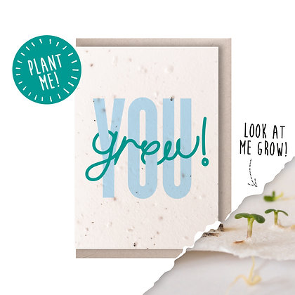 You Grew! Plantable Seed Card Blue