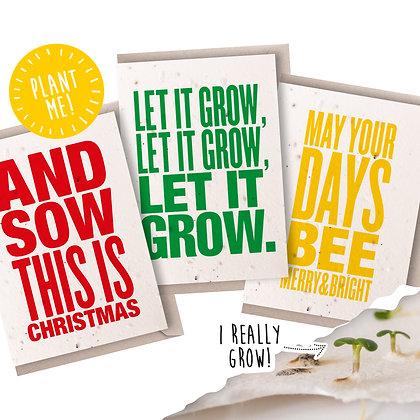 Plantable Seed Christmas Card Set of 3