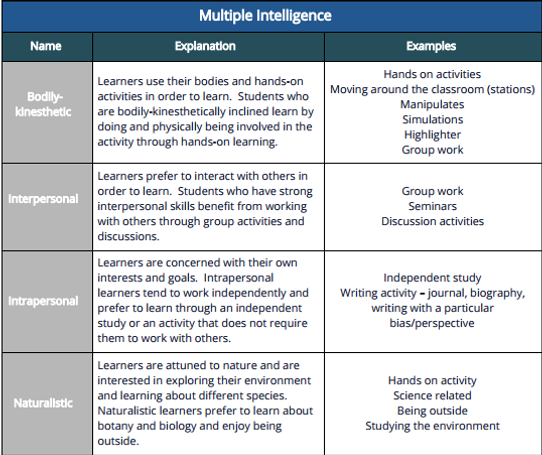 Multiple Entry Points and Intelligences