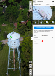 Tower inspection crosshairs, showing all images that capture specified object