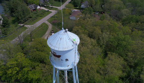 A water tower scheduled for maintenance