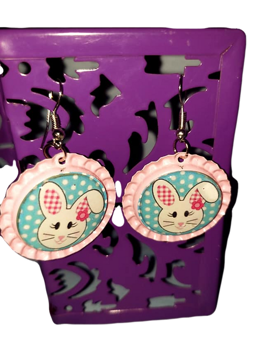 Pink Bunny Bottle Cap Earrings