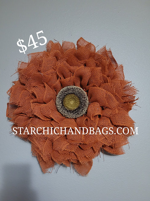 Handmade  Orange Sunflower Wreath