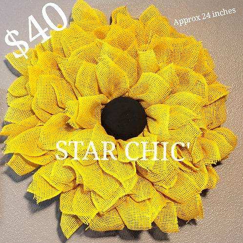 Yellow Burlap Sunflower Wreath