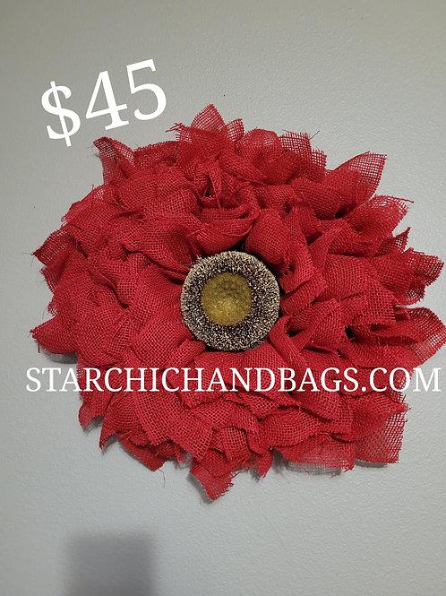 Handmade Red Sunflower Wreath