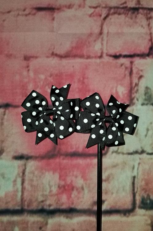 Black Polka dot Bows Set