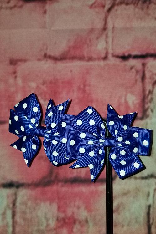 Navy Blue Polka dot Bows Set