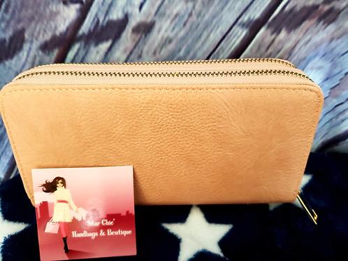 Light Pink Simple Double Zip-Around Wallet