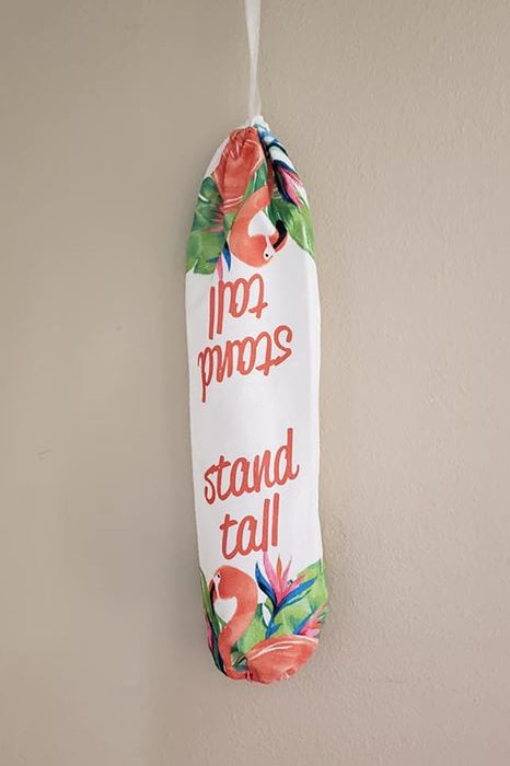 Stand Tall Flamingo Grocery Bag Holder