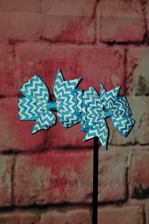 Light Blue Chevron Print Bow Set