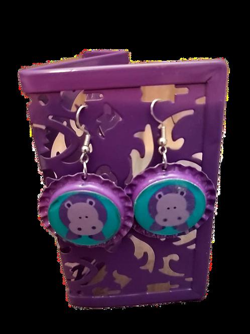 Purple Hippo Bottle cap Earrings