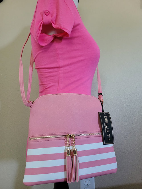 Pink and white striped Crossbody