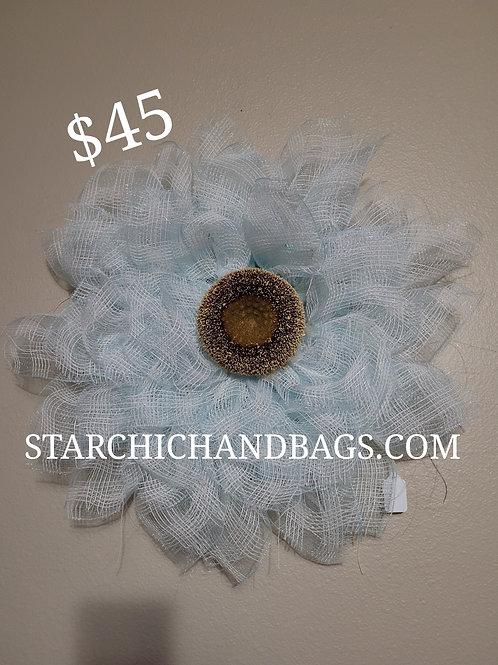 Handmade light blue Sunflower Wreath