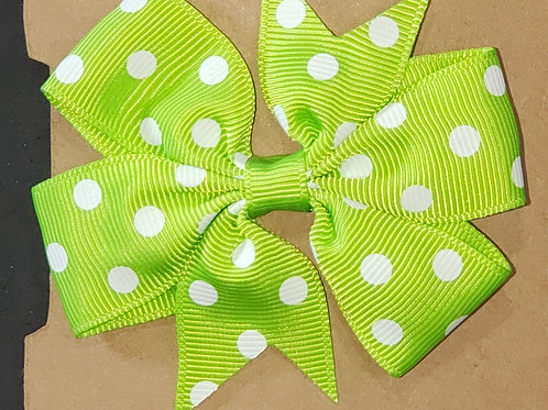 Green Polka Dot Bow with clip