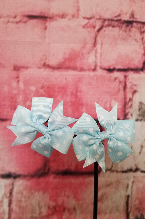 Light Blue Polka dot Bows Set