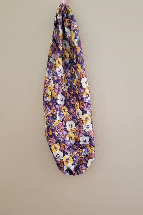 Purple Pansy Grocery Bag Holder