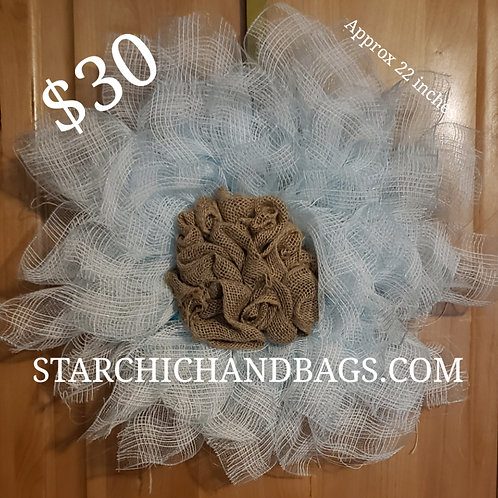Light Blue and Burlap Flower Wreath