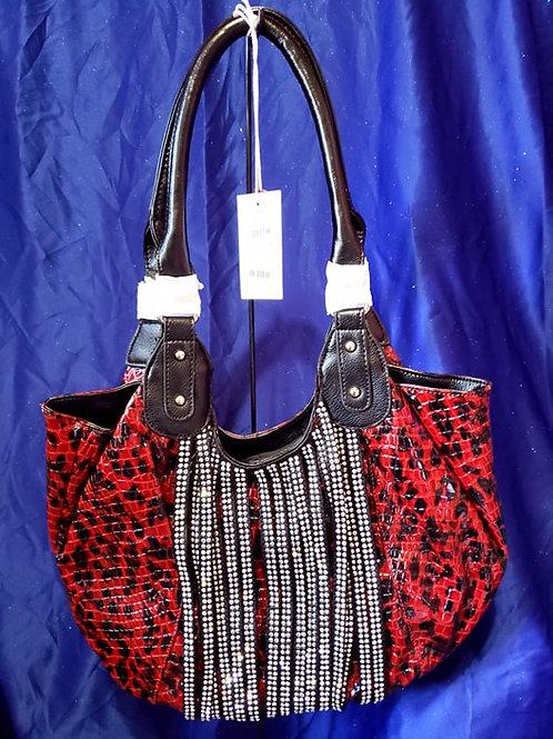 Red Leopard Bling Handbag