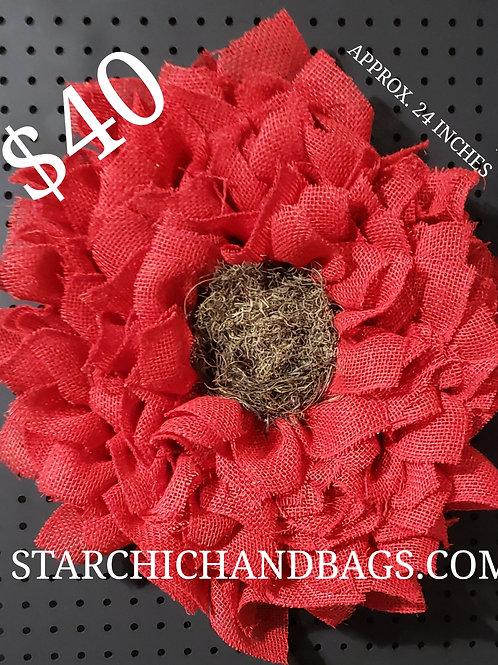 Red Burlap Sunflower