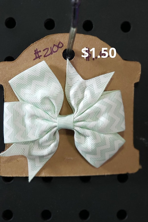 Mint Chevron Print Bow With Alligator Clip