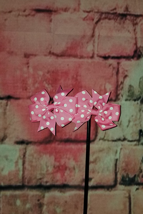Light Pink Polka dot Bows Set