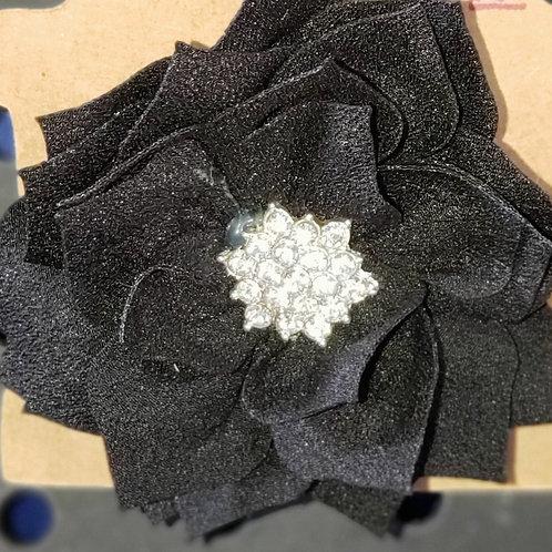 Black flower with Bling Hair Clip