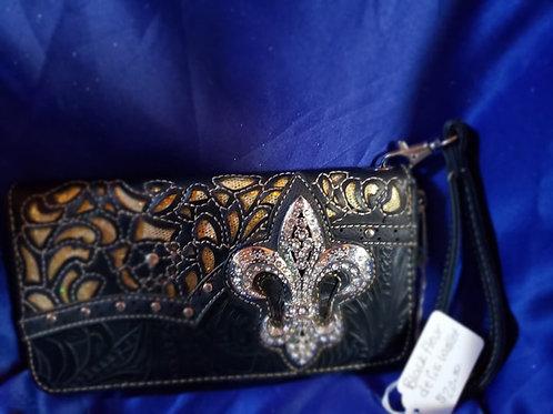 Black Lace Fleur De lis Wallet