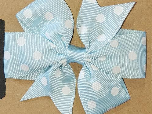 Light Blue Polka dot Bow Hair Clip