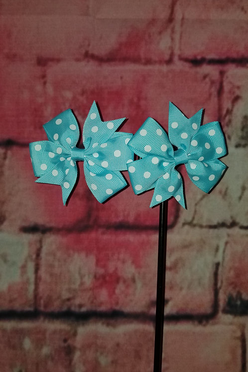 Blue Polka dot Bows Set