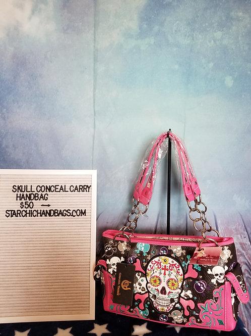 Pink Sugar Skull Conceal Carry Handbag