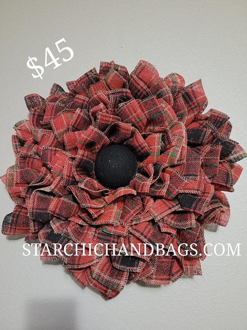 Handmade Red Plaid Sunflower Wreath