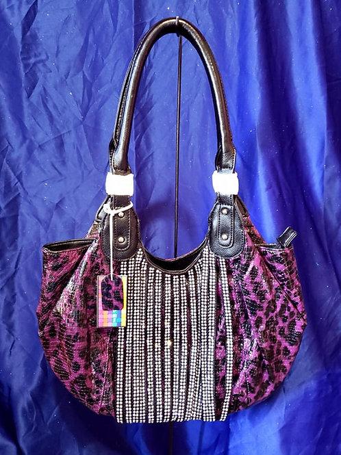 Purple Leopard Bling Handbag