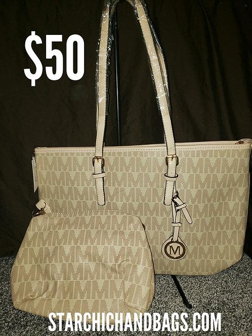 Beige Designer Inspired Handbag 2 in 1