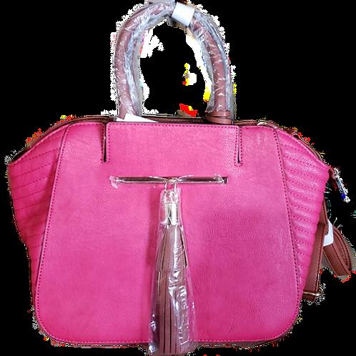 Pink& Brown Tassel Handbag