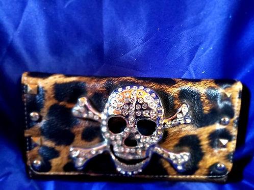Skull Leopard Trifold Wallet