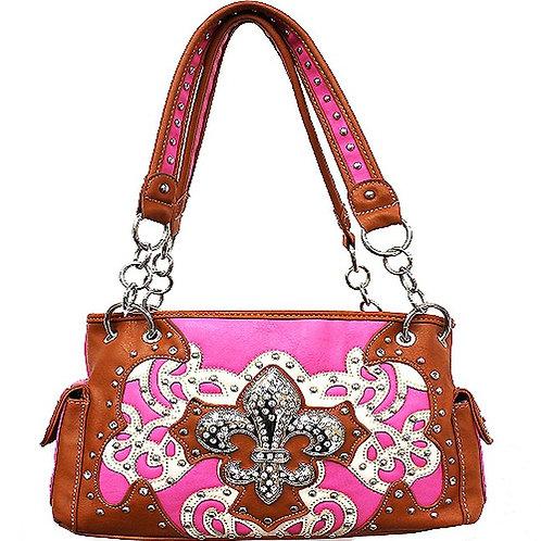 Conceal Carry Fleur De Lis Pink Conceal Carry Handbag