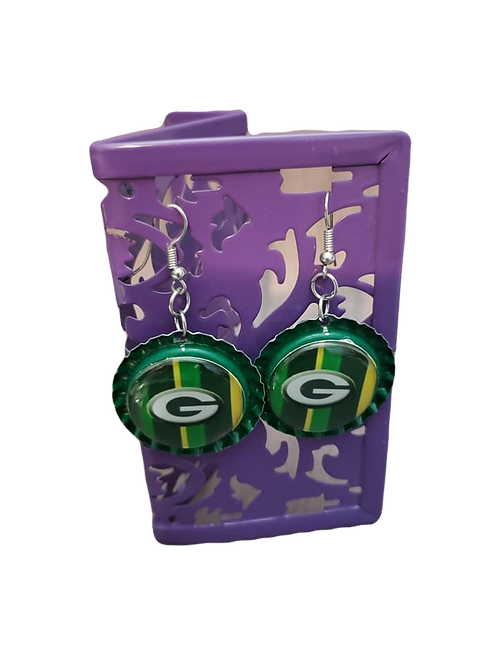 Green Bay Bottle Cap Earrings