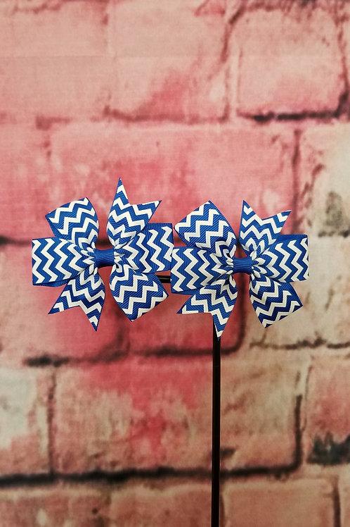 Dark Blue Chevron Print Bow Set