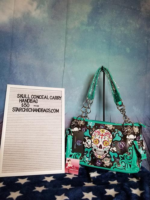 Teal Sugar Skull Conceal Carry Handbag
