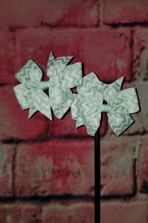 Mint Chevron Print Bow Set