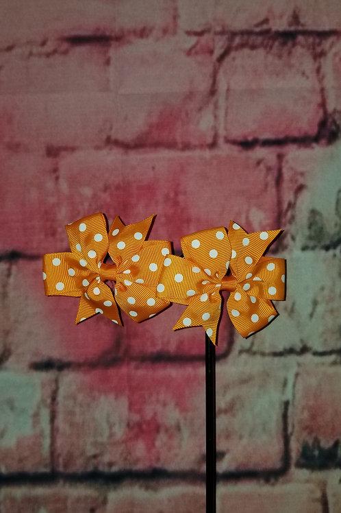 Orange Polka dot Hair Bows