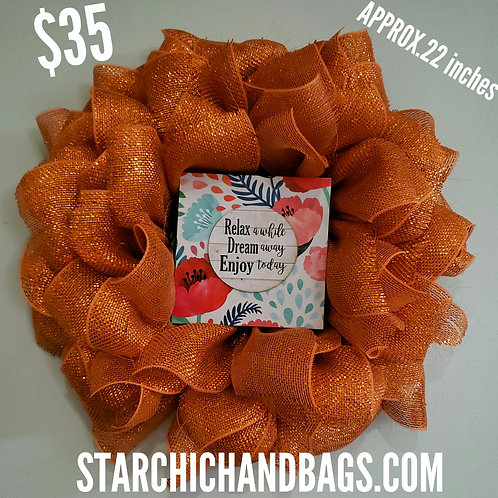 Handmade Orange Flower Wreath