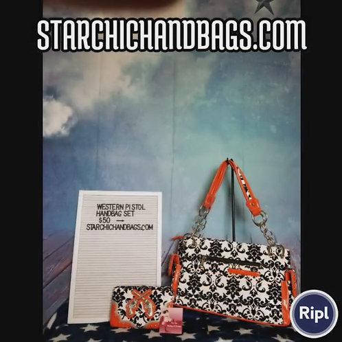 Orange Double Pistols Handbag and wallet