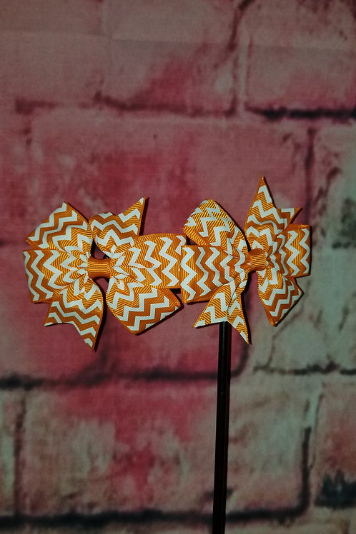 Orange Chevron Print Bow Set