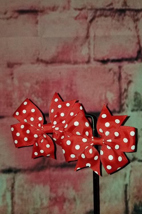 Red Polka dot Bows Set