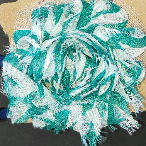 Teal and white Shabby Hair clip