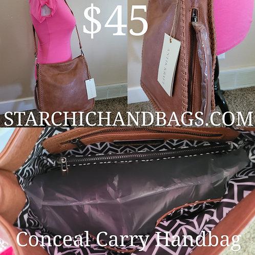 CONCEALED CARRY CROSSBODY MESSENGER BAG~TAN