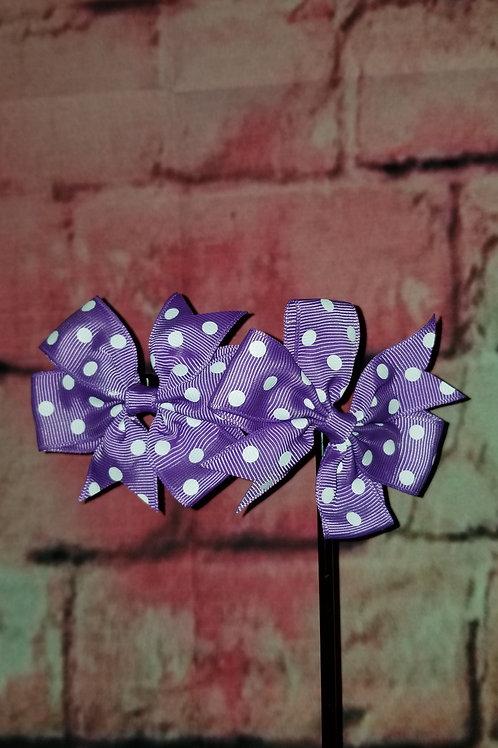 Purple Polka dot Bows Set