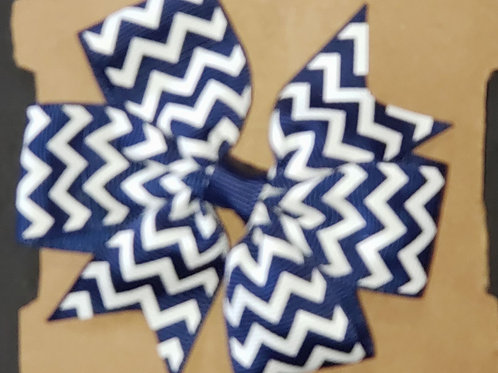 Navy Blue Chevron Bow Hair Clip